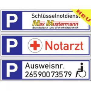 Parkplatzreservierer mit Text und Logo nach Wunsch
