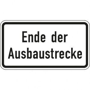 Zusatzschild Ende der Ausbaustrecke - Zusatzzeichen 2139