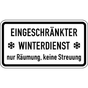 Eingeschränkter Winterdienst ... Zusatzzeichen VZ 2003