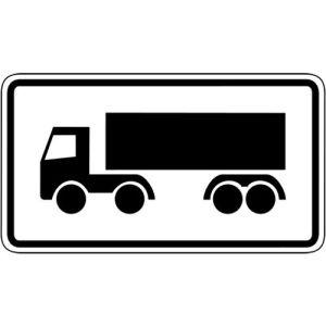 Nur Sattelkraftfahrzeuge Zusatzschild mit VZ 1048-14