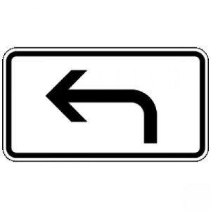 Vorankündigung, linksweisend Zusatzzeichen 1000-11