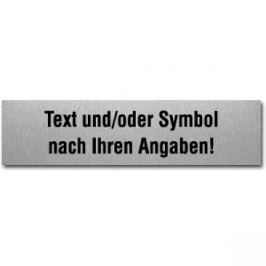 Edelstahlpiktogramm mit Text und Symbol nach ihren Angaben (eckig)