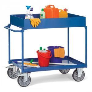 Tischwagen mit 2 Stahlblechwannen - extra hoher Rand  - Tragkraft 400 kg