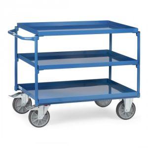 Tischwagen mit 3 Stahlblechböden und waagerechtem Schiebegriff  - Tragkraft 400 kg