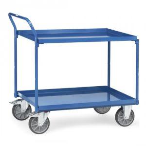 Tischwagen mit 2 Stahlblechwannen und schrägem Schiebegriff  - Tragkraft 400 kg