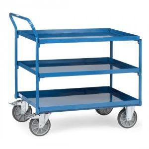 Tischwagen mit 3 Stahlblechwannen und schrägem Schiebegriff  - Tragkraft 400 kg