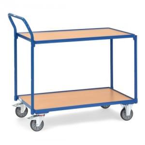 Leichter Tischwagen mit 2 Holzböden und schrägem Schiebegriff  - Tragkraft 300 kg