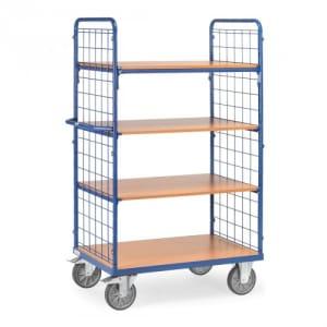 Etagenwagen mit 4 Böden und Drahtgitterwänden - Tragkraft 600 kg