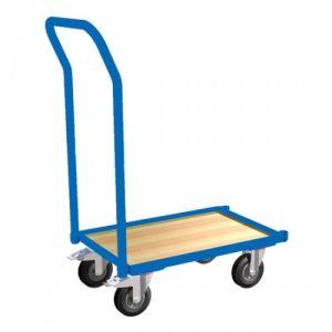 Eurokasten-Roller mit Holzbodenplatte, Rand und Schiebebügel  - Tragkraft 250 kg