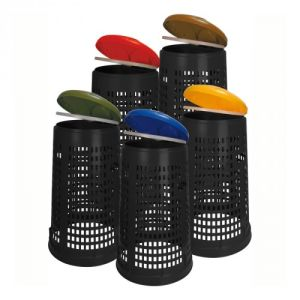 Recycling Abfallsackhalter RUFF in Lochoptik mit farbigem Deckel - 110 Liter