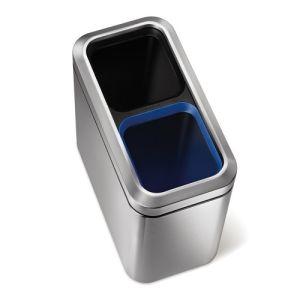 Recycling Abfalleimer SLIM OPEN RECYCLER mit offenem Deckel, Simplehuman - Inhalt 2x 10 Liter