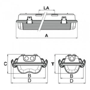 EX-Wannenleuchte X-LUX STANDARD (Wand-/Deckenaufbau)