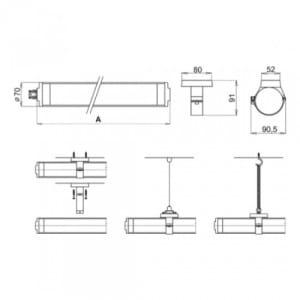 EX-Rohrleuchte X-LUX CLASSIC (Wand-/Deckenaufbau)