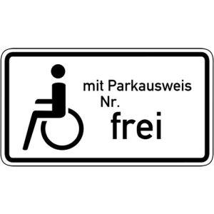 Schwerbehinderte mit Parkausweis Nr. ... Frei VZ 1020-11