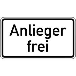 Zusatzzeichen Anlieger frei Zusatzschild mit VZ 1020-30
