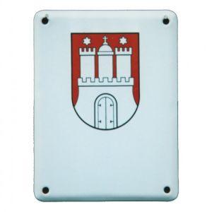 Emaille-Türschild mit Wappen