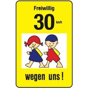 Schulwegschild - Freiwillig 30 km/h wegen uns (Variante 2)