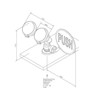 Augendusche mit zwei abgewinkelten Brauseköpfen (Tischmontage)