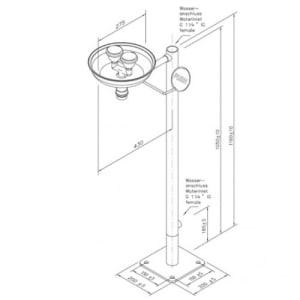 Augendusche mit zwei Brauseköpfen und Auffangbecken (Bodenmontage)