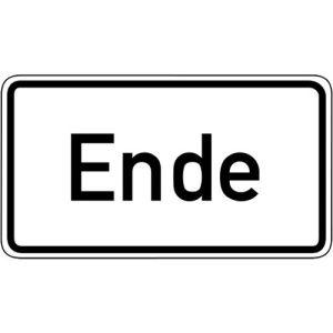 Zusatzzeichen Ende Zusatzschild mit VZ 1012-31