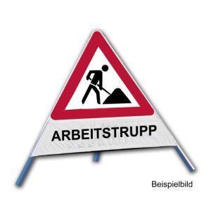 Faltsignal - Baustelle mit Text: ARBEITSTRUPP