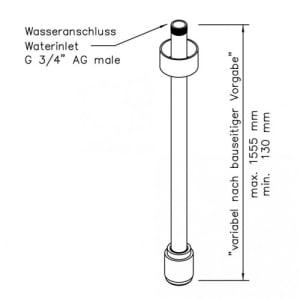 Variable Notdusche ohne Betätigung (Deckenmontage Unterputz)