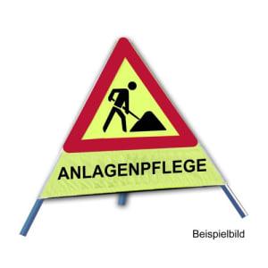 Faltsignal - Baustelle mit Text: ANLAGENPFLEGE