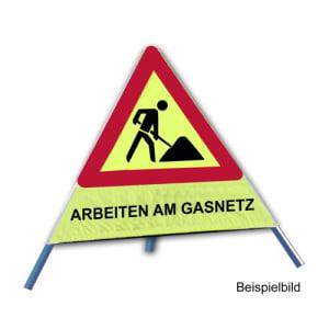 Faltsignal - Baustelle mit Text: ARBEITEN AM GASNETZ
