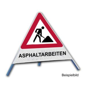 Faltsignal - Baustelle mit Text: ASPHALTARBEITEN