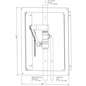 Hebelventil im Edelstahlgehäuse für Notduschen (Wandmontage Unterputz)