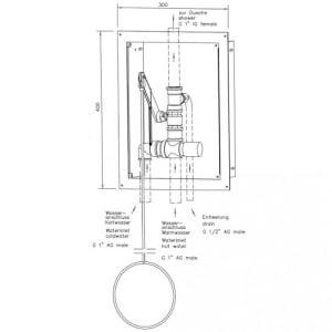 Zugstangenventil mit Thermostat im Edelstahlgehäuse für Notduschen (Wandmontage Unterputz)