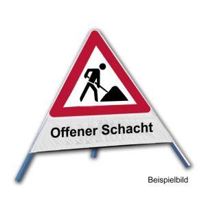 Faltsignal - Baustelle mit Text: Offener Schacht