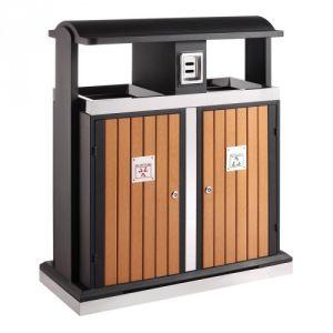 Recycling Abfallbehälter in Holzoptik mit Regendach, EKO - Inhalt 2x 50 Liter