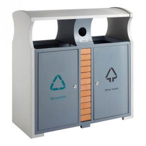 Recycling Abfallbehälter mit Regendach und Batteriefach, EKO - Inhalt 2x 39 Liter