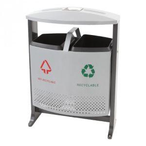 Luxus Recycling Abfallbehälter mit Regendach, EKO - Inhalt 2x 39 Liter