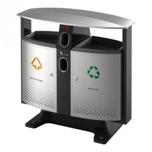 Luxus Recycling Abfallbehälter mit Regendach und Batteriefach, EKO - Inhalt 2x 39 Liter