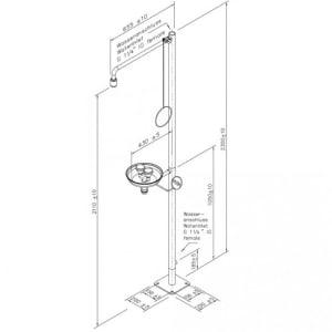 Notdusche mit Zugstange und Augendusche mit Auffangbecken (Bodenmontage)