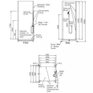 Dekontaminationsdusche mit zwei Ein- und Ausgängen und Sammelwanne