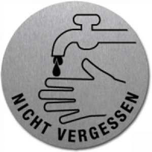 Textschild + Symbol - Händewaschen nicht vergessen (rund)