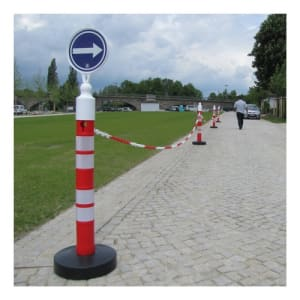 Kettenständer - Kettenpfosten-Set MegaMax: 5 / 6 Pfosten + 25 m Kunststoffkette