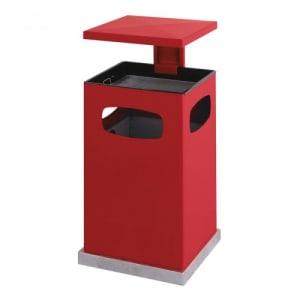 Abfalleimer inkl. Ascher mit verstärktem Schutzdach und 3-fach Einwurf - Inhalt 2 + 38 / 3 + 72 Liter