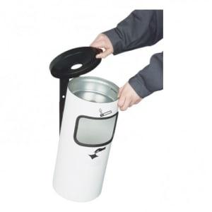 Abfalleimer inkl. Ascher RONDO KOMBI mit Standfuß - Inhalt 10 Liter