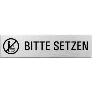 Textschild + Symbol - Bitte setzen (eckig)