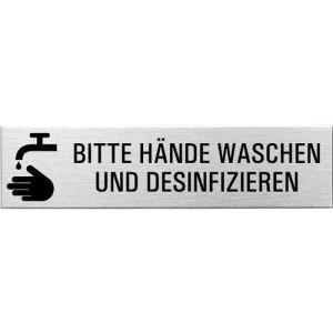 Textschild + Symbol - Bitte Hände waschen und desinfizieren (eckig)