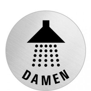 Textschild+Symbol - Dusche Damen (rund)