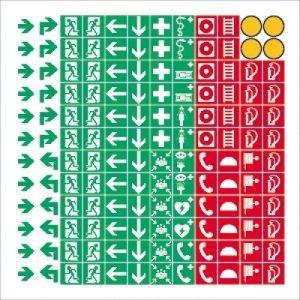 Sammelbogen mit 144 Symbolen gemäß ASR A 1.3 / BGV A8 / DIN 4844-2
