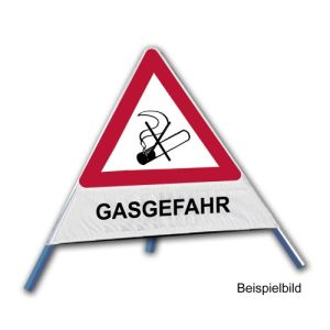 Faltsignal - Rauchverbot mit Text: GASGEFAHR