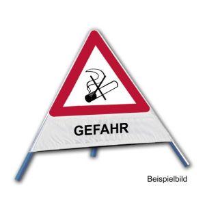 Faltsignal - Rauchverbot mit Text: GEFAHR