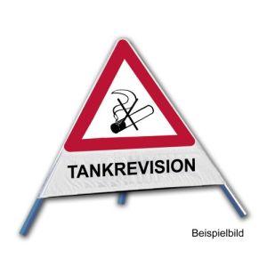 Faltsignal - Rauchverbot mit Text: TANKREVISION