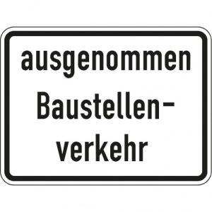 Zusatzzeichen Ausgenommen Baustellenverkehr - VZ 2133